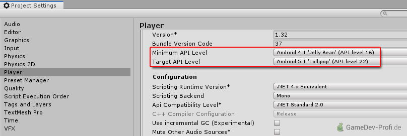 Zusätzliches API-Level in Unity-Android-SDK installieren