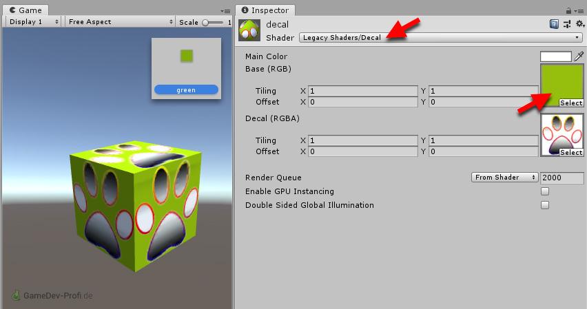 Der Legacy-Decal-Shader schneidet das Bild richtig aus, wenn die Hintergrundfarbe nicht über die Main Color eingestellt, sondern als Bild in Base (RGB) gelegt wird.
