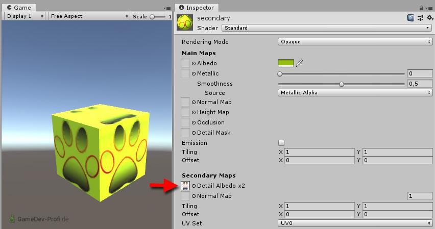 Das Aufbringen der Textur als Secondary Map bewirkt zwar einen Überlagerungseffekt, der aber auch zu einer Verfärbung führt.