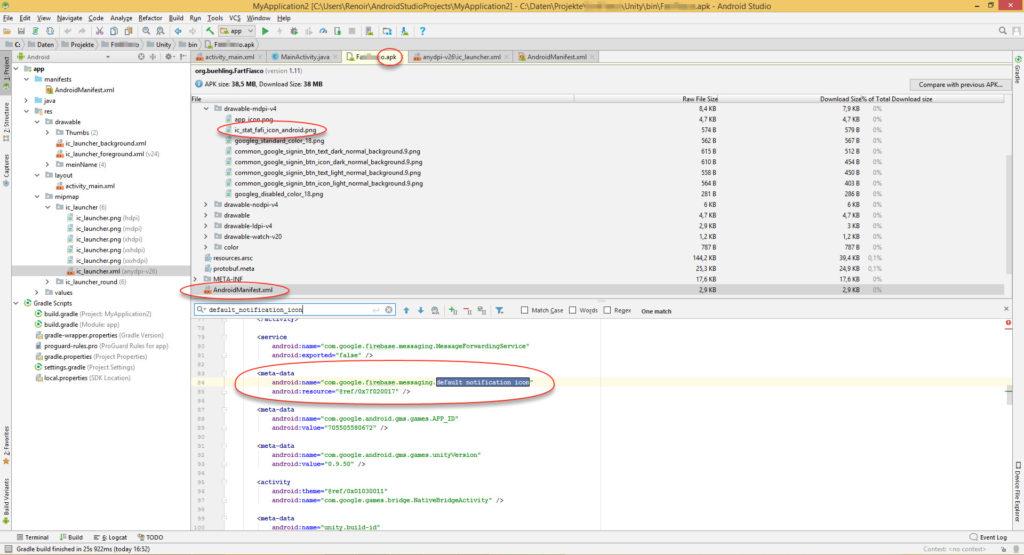 Mit Android Studio lässt sich der Inhalt der apk-Datei prüfen.