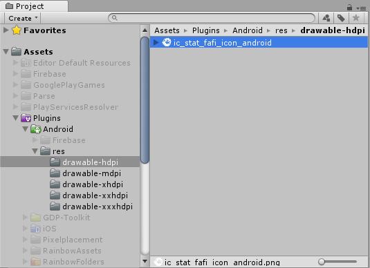 Liegen die Ressourcen unterhalb von Plugins/Android, kann der Gradle-Build sie finden.