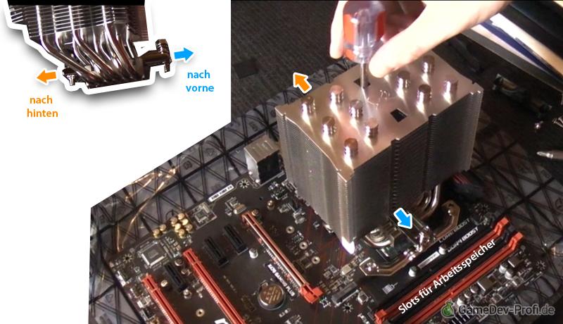 Aufsetzen und festschrauben des Kühlerblocks auf dem Prozessor, so ausgerichtet, dass die wuchtige Seite des Blocks den freien Platz nach hinten nutzt (und nicht über die Arbeitsspeicherslots ragt).