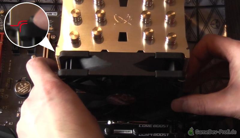 Einsetzen der Ventilatoren in die Aussparungen des Lamellenblocks.