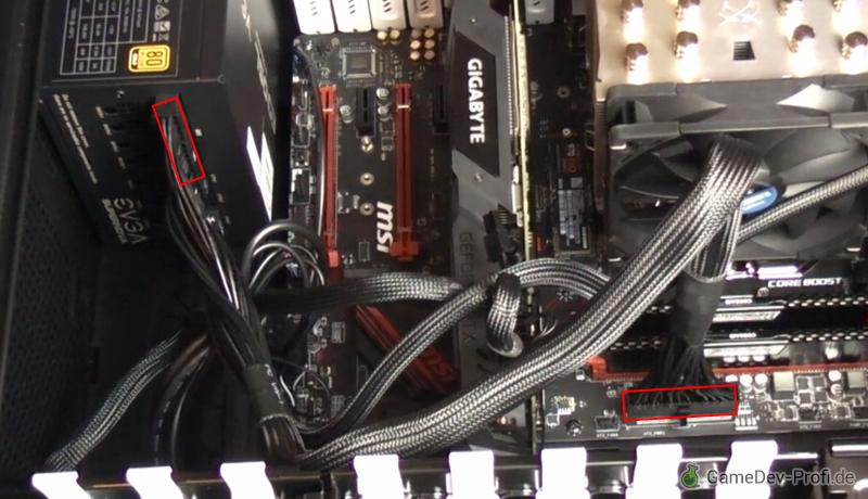 """Verbinden von Netzteil und Motherboard mit dem """"MB""""-Kabel."""