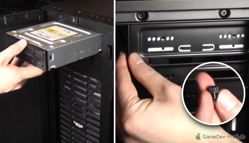 Einsetzen des DVD-Laufwerks. (Bild zeigt oberen Einschub, verwende besser den unteren nahe der Festplatteneinschübe.)
