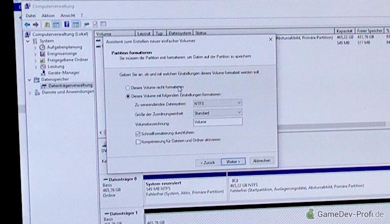 Optionen zur Formatierung der Datenfestplatte.