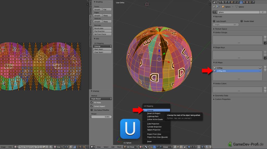 Zuweisen des zweiten UV-Mappings.