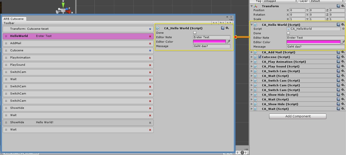 Beispiel: Eigene Komponentenliste mit Standard-Editor für eine ausgewählte Komponente.