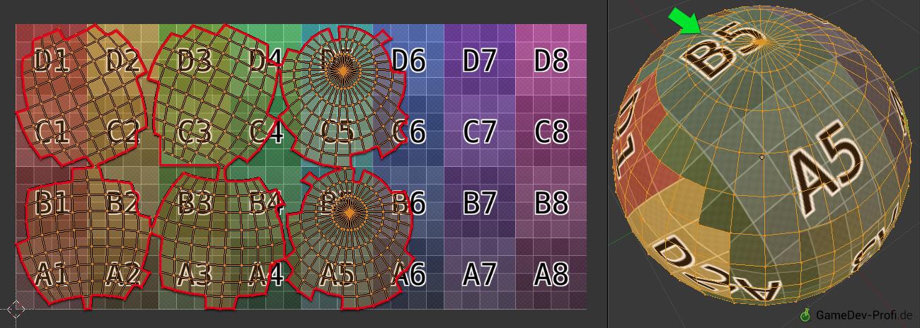 Beispiel 2: Blenders Smart-Projektion verhindert Verzerrungen in der Textur, erzeugt aber viele einzelne Mapping-Inseln. Es ist schwierig, in der Bildbearbeitung alle Kanten nahtlos aneinander passend zu gestalten.
