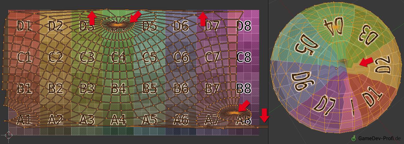 Beispiel 1: Bei Blenders Kugel-Projektion entstehen viele Stauchungen und Streckungen in der Abbildung, wodurch es zu sichtbaren Texturverzerrungen kommt.
